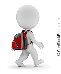 3d small people - back to school - 3d small person walks...
