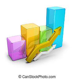 statistics - 3d image. Concept statistics. Isolated white...