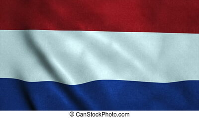 Realistic Ultra-HD flag of the Netherland waving in the wind. Seamless loop with highly detailed fabric texture
