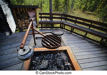Cooking pit at resting place in Vackermyren, the beautiful...