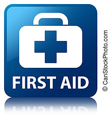 First aid blue square button