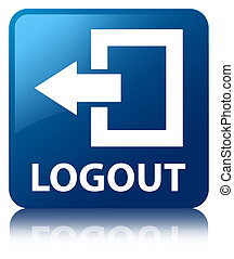 Logout blue square button