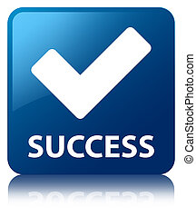 Success validate icon blue square button