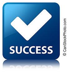 azul, quadrado, sucesso, botão,  (validate,  icon)