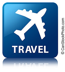 Travel plane icon blue square button