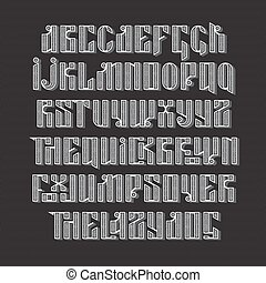 The latin stylization of Old slavic font. Custom type...