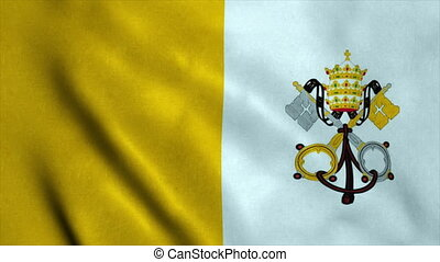 Realistic Ultra-HD flag of the Vatican City waving in the wind. Seamless loop with highly detailed fabric texture