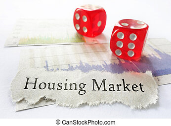Housing Market risk - Housing Market newspaper headline with...