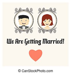 We are getting married vector card - Vector illustrations of...