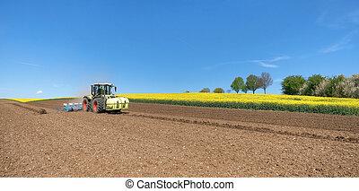 Durante, siembra,  tractor