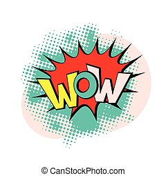 wow pop art vector