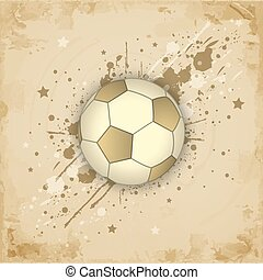 Vintage paper grunge background with soccer (football) ball.