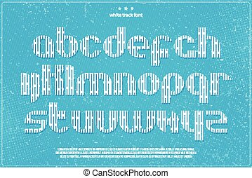 white track - set of white imprint style alphabet letters on...