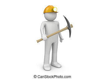 Miner - Workers collection - 3d characters isolated on white...
