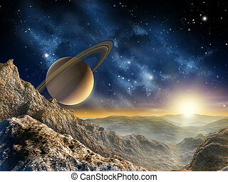 Saturn moon - Gorgeous spacescape as seen from one of Saturn...