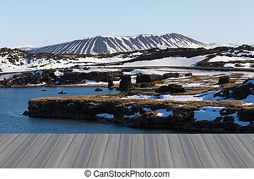 Myvatn volcano - Opening wooden floor, Winter landscape in...