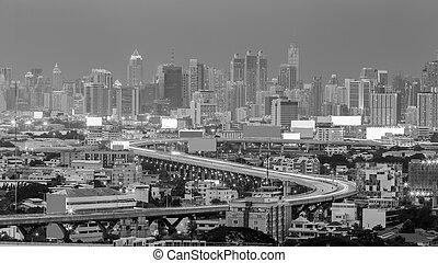 Arial view city downtown - Black and White, Arial view city...