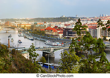 view of bridges on the Vltava river