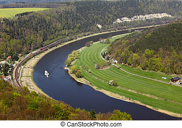 Elbe river from konigstein castle - Elbe river from...