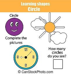 Educational children game, kids activity. Learning shapes, circle