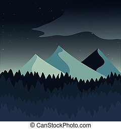 Green mountain landscape. Flat simple and nice art