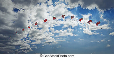 paragliding - Man paragliding in the sky captured in...