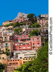 Bright colorful villas in Positano, Italy - Positano is a...