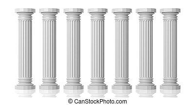 3d rendering seven white marble pillars