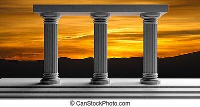 3d rendering three white marble pillars