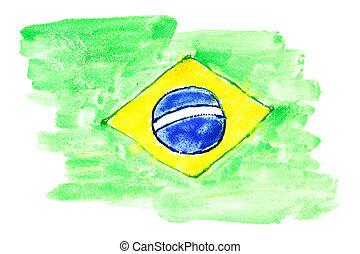 Flag of Brazil - Watercolor flag of Brazil primitive