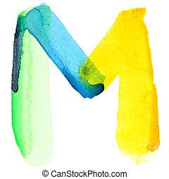 Vivid watercolor alphabet - Letter M - Vivid watercolor...