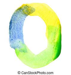 Vivid watercolor alphabet - Letter O - Vivid watercolor...