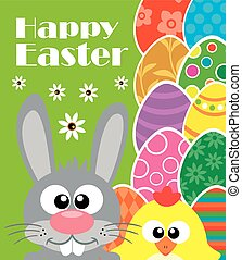 Happy Easter, rabbit ,chicken