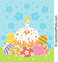 Easter vector with cake and eggs