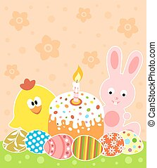 Easter vector with bunny ,chicken