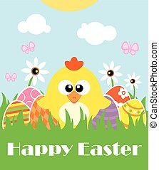 Happy Easter background with funny chicken