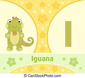 The English alphabet ,Iguana