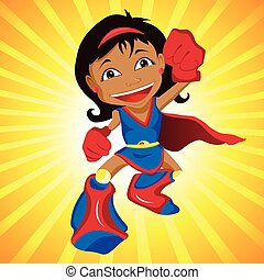 Black Super hero Girl Editable Vector Illustration