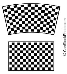 Checkered racing flag elements isolated on white