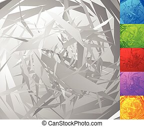 Colorful background set with random, chaotic shapes