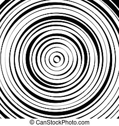 Radial concentric circles with irregular, dynamic lines...