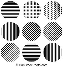 Set of half-tone lines in circles Straight vertical,...
