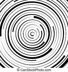 Radial concentric circles with irregular, dynamic lines....