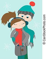 Young couple hugging in winter