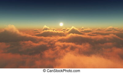 sunset above clouds 4k