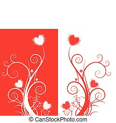 double hearts background with symmetrical pattern