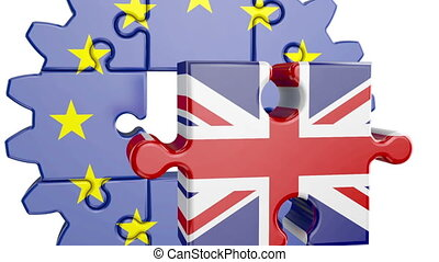 puzzle EU and UK - Gear-puzzle with a flag of the European...