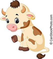 Happy cartoon cow - illustration of Happy cartoon cow