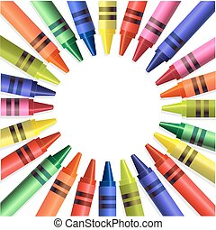 Back to school colored crayons background