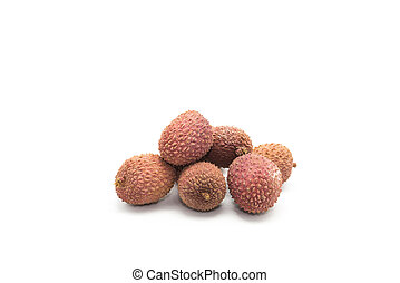 litchis on a white background